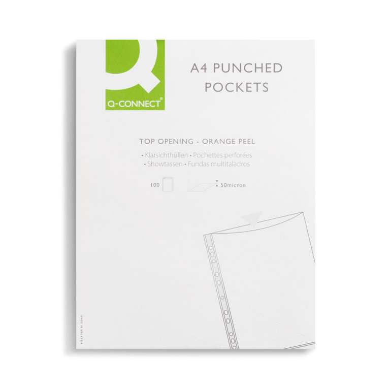 Q-Connect Punched Pockets Polypropylene 50 Micron A4 Embossed (Pack of 100)