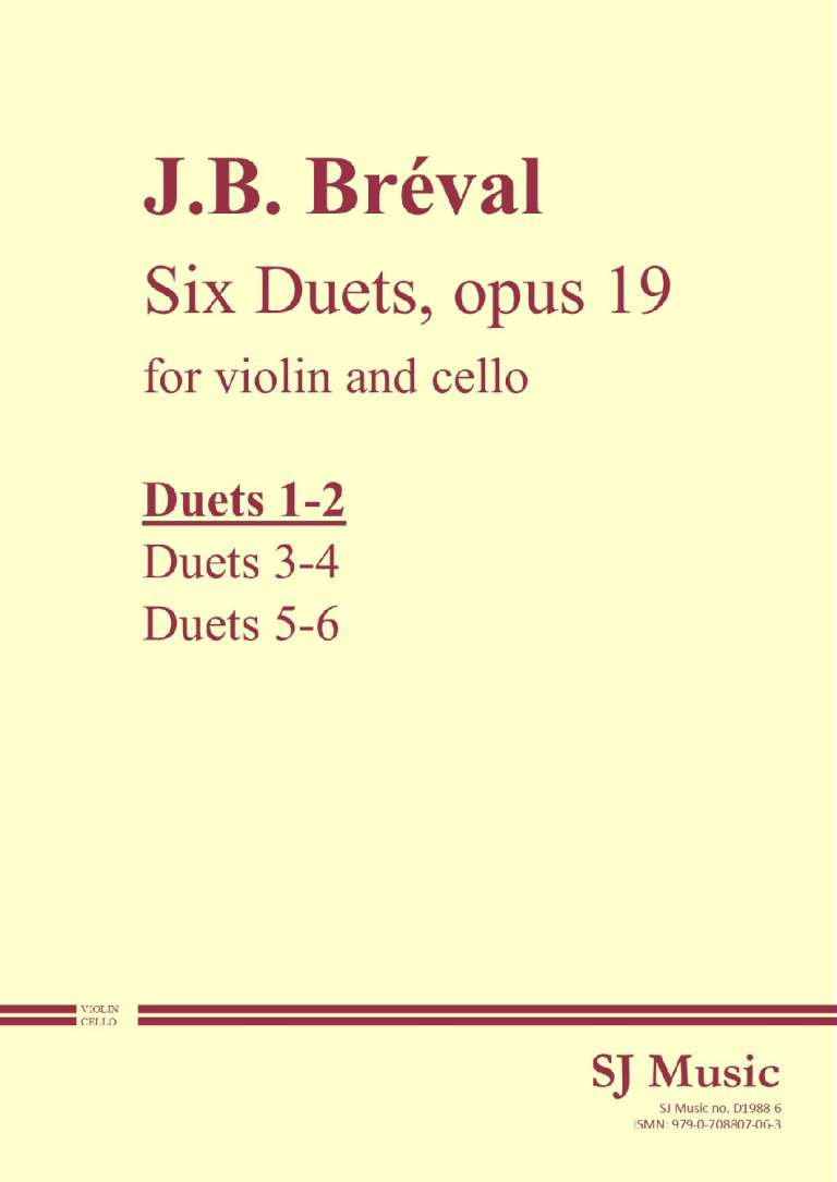 Breval opus 19 nos 1-2 cover